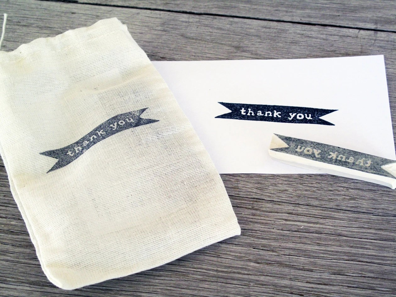 Thank You Rubber Stamp, Hand Carved - LetterKay