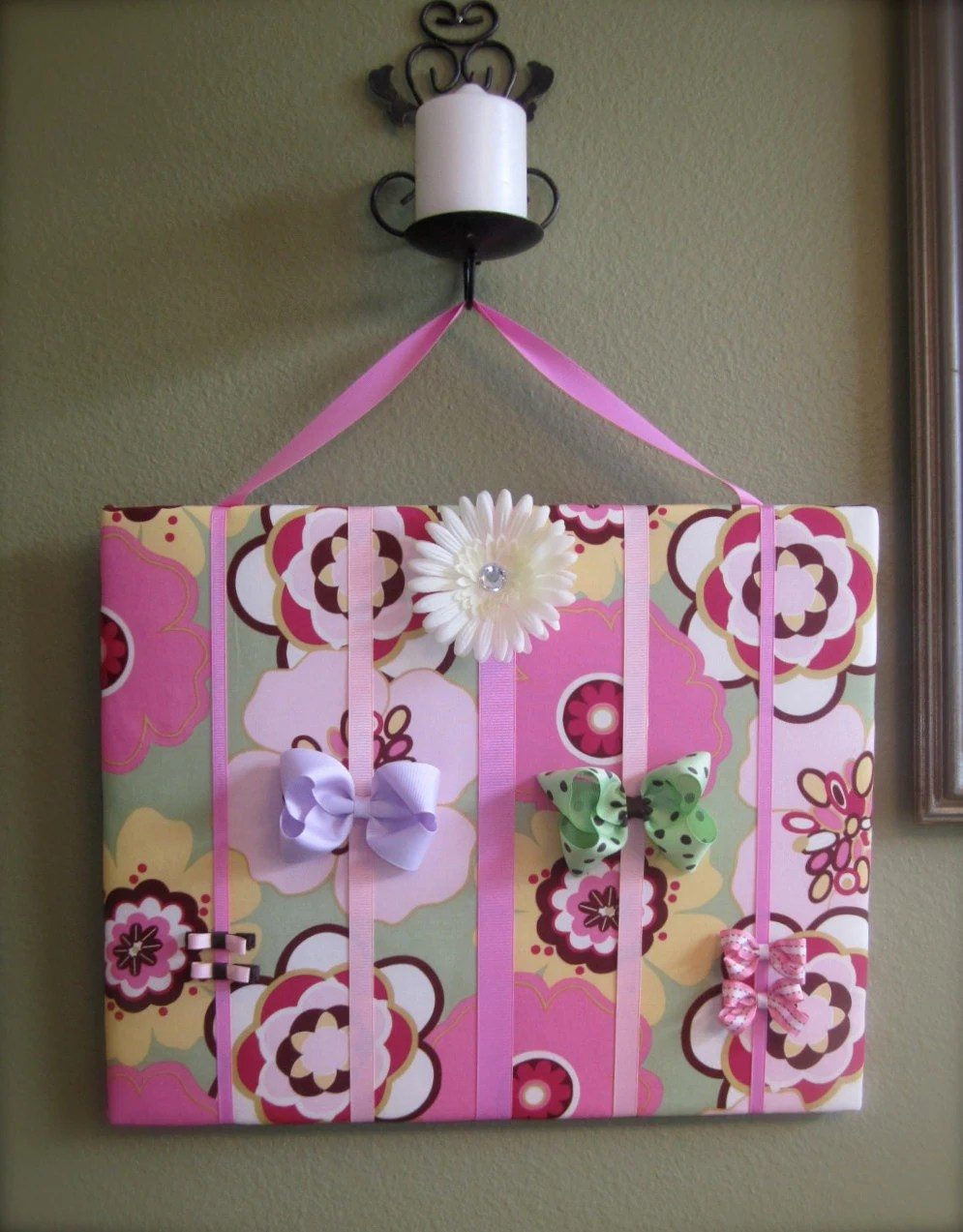 Hair Bow Board Organizer: Pink, Green and Yellow Flowers with optional headband holder