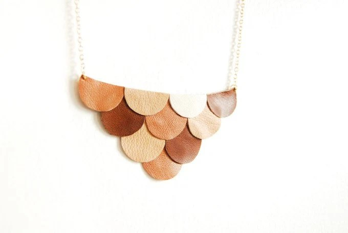 Leather Scallop Petals Necklace - Bokeh Honey Brown Coffee and Cream Palette - Made to Order - AmprisLoves