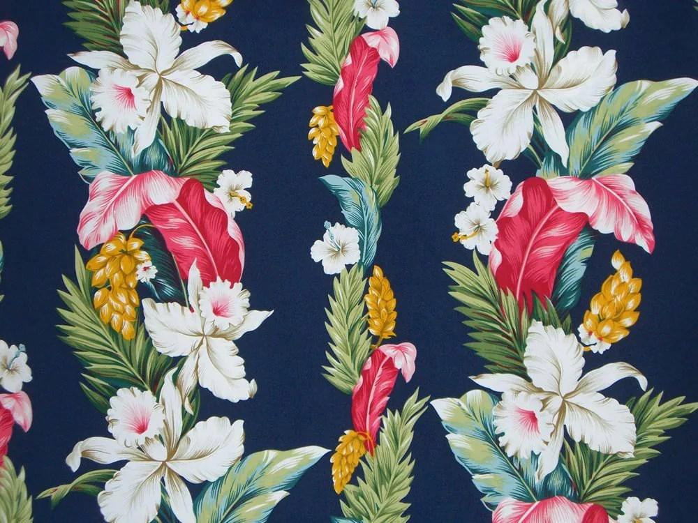 REMNANTTropical Floral Stripe Print On Navy Microfiber