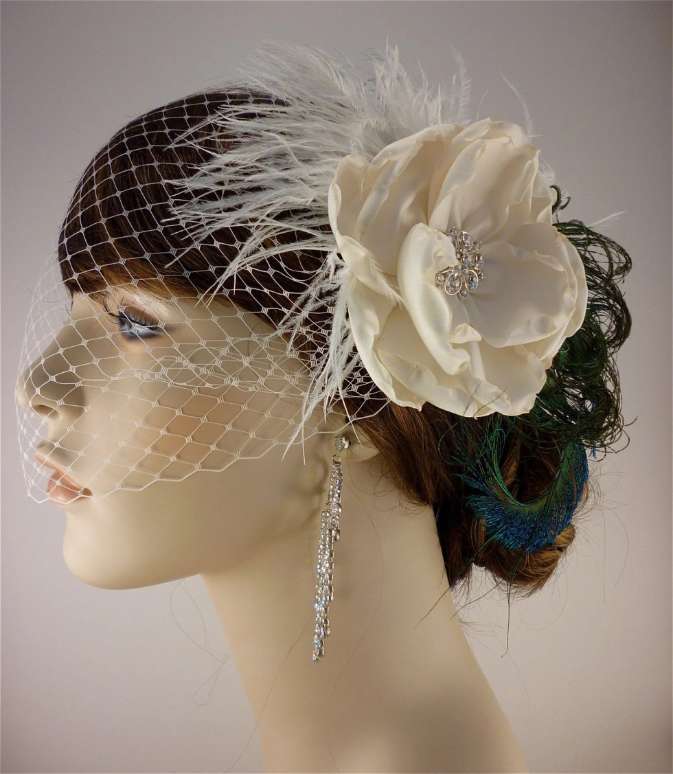 "Beauty Is - (2 Items) Handmade Ivory Rose Bridal Flower and Natural Peacock Feather Fascinator  4.5"" flower with Ivory Bandeau Veil"