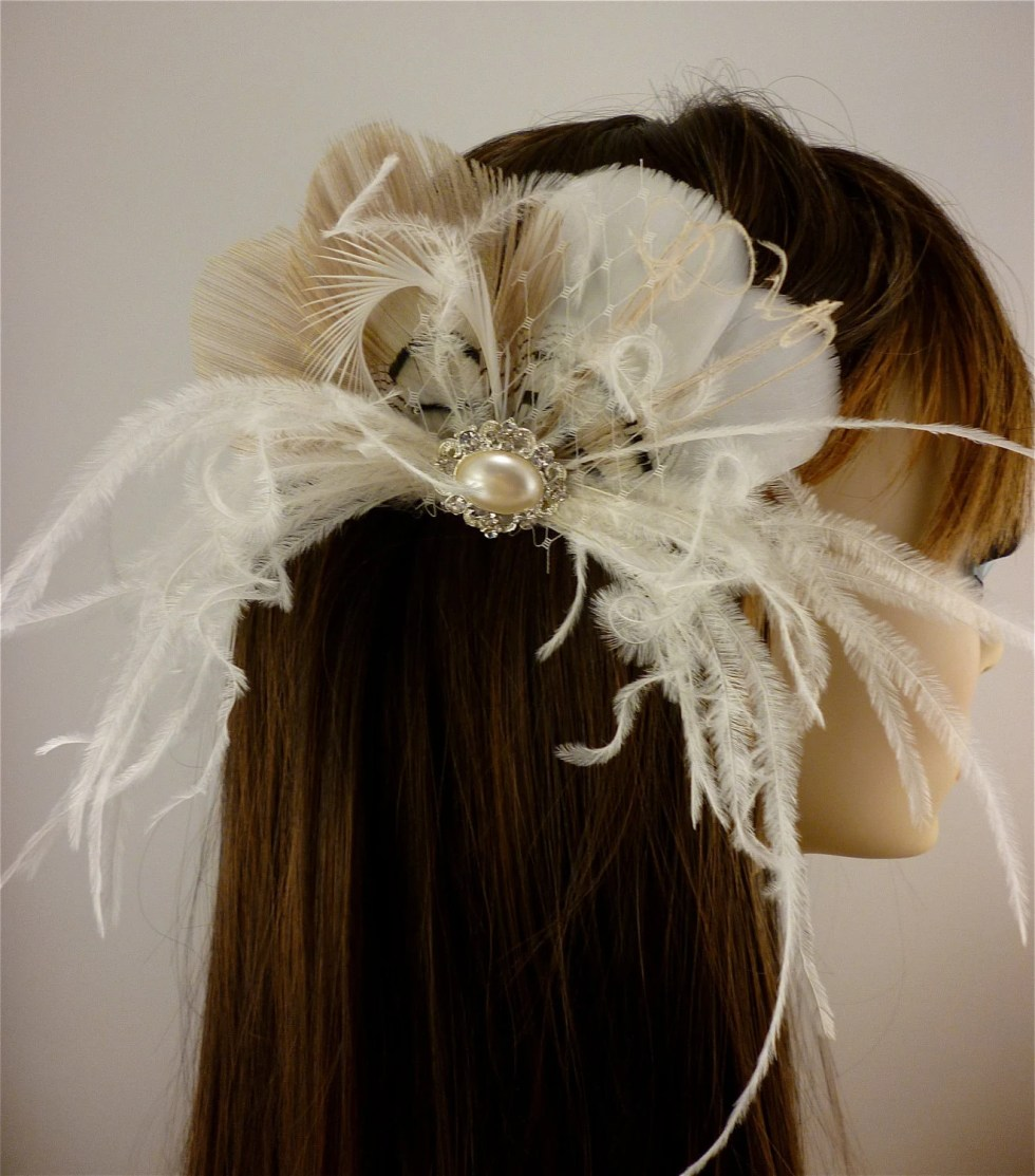 Bridal Feather Fascinator, Bridal Fascinator, Feather Fascinator, Fascinator, Bridal Headpiece, Ivory and Champagne