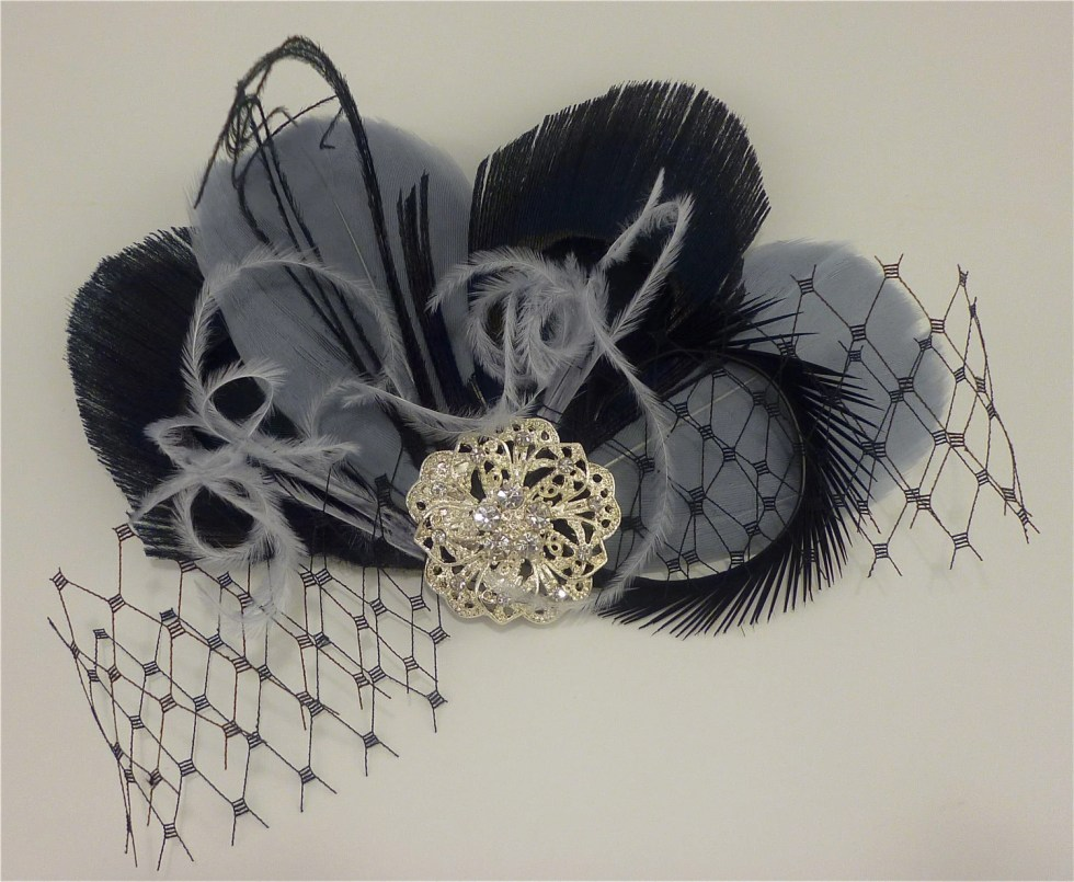 Bridesmaid Hair Accessories,  Feather Fascinator, Feather Fascinator, Fascinator, Bridesmaid, Black and Silver Gray