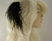 Wedding Headband, Bridal Hair Accessory, Rhinestone Bridal Tiara, Rhinestone Headband, Black and White, Hollywood Royalty