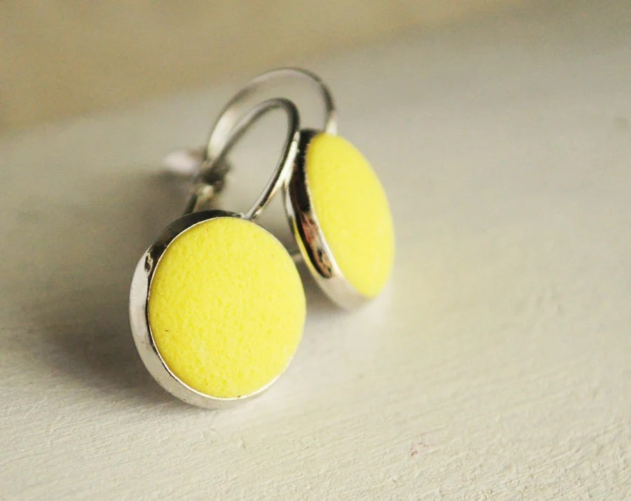 Yellow earrings from polymer clay - neon earrings, yellow jewelry texture, lemon, gift idea for her, girl  - ready to ship - Rozibuz