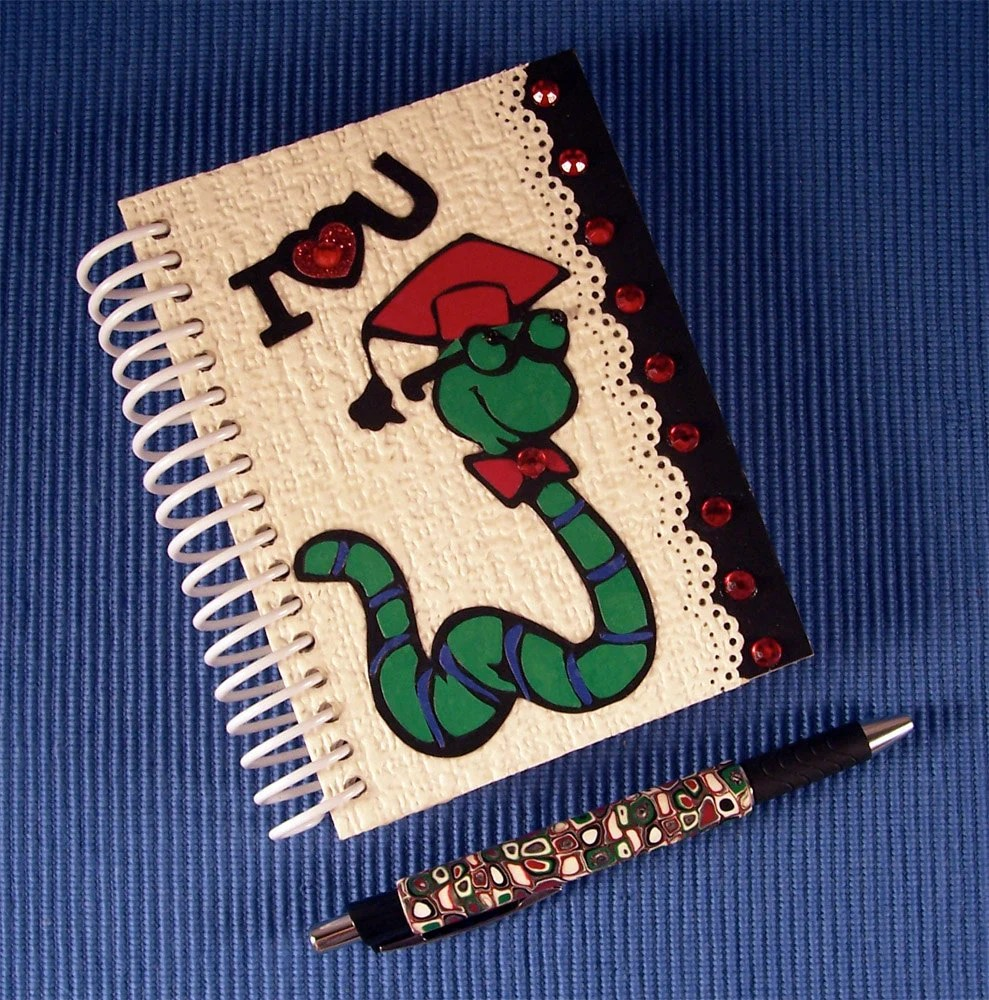Notebook Bookworm with Pen