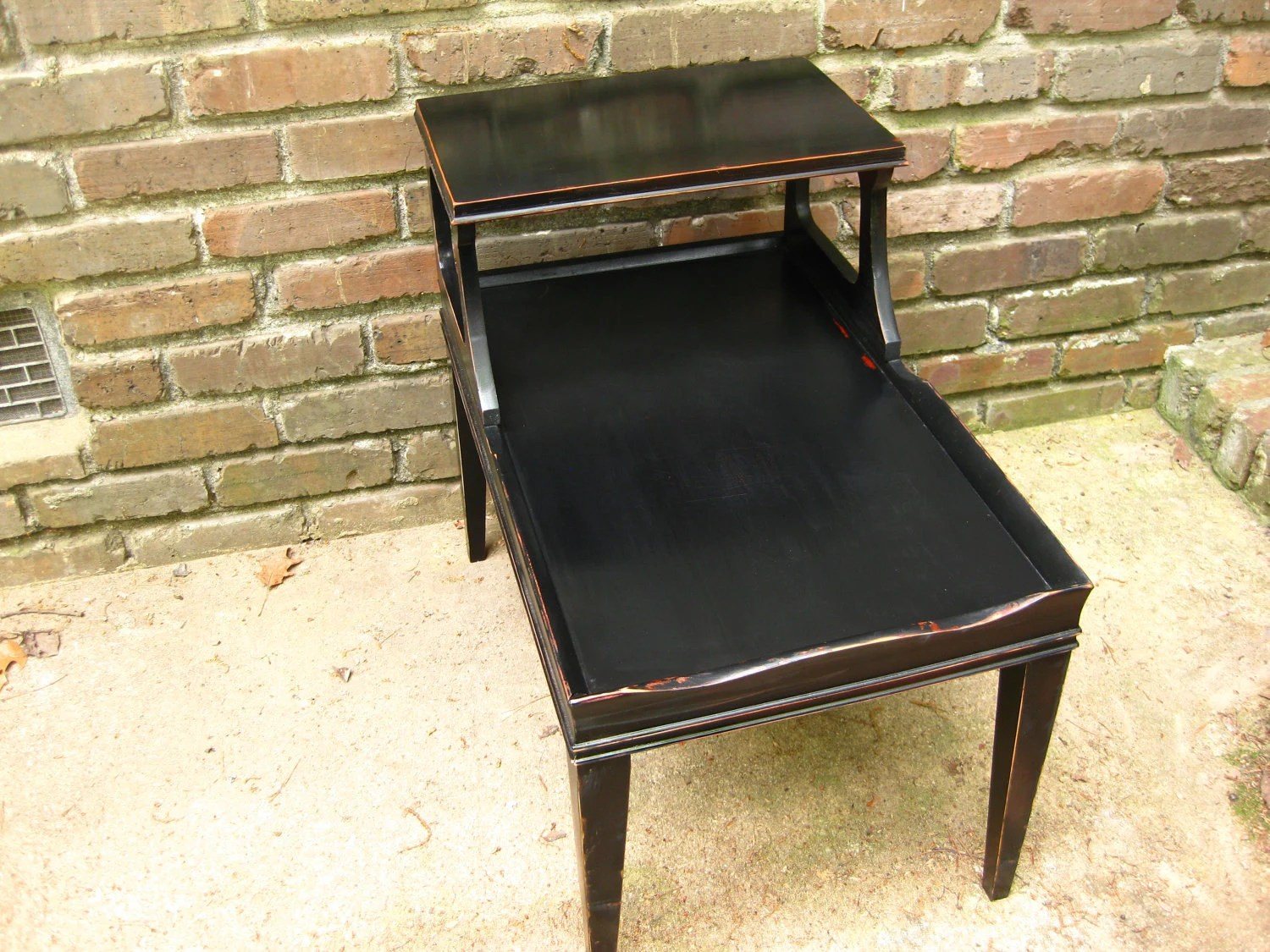 Solid Wood Two Tier Shabby Chic Black By GoodOldDaysTreasures