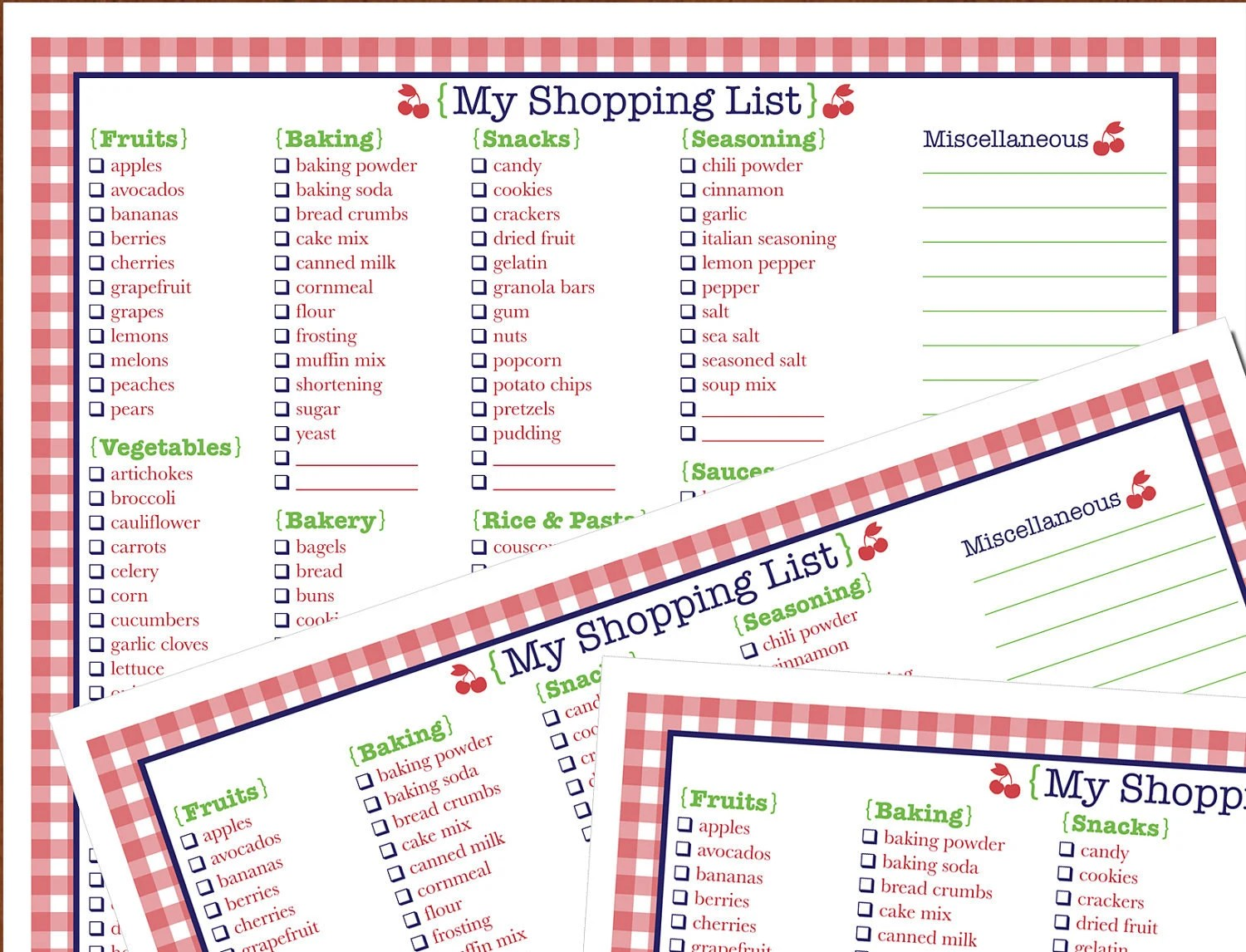 Printable Grocery List Printable Shopping List Binder