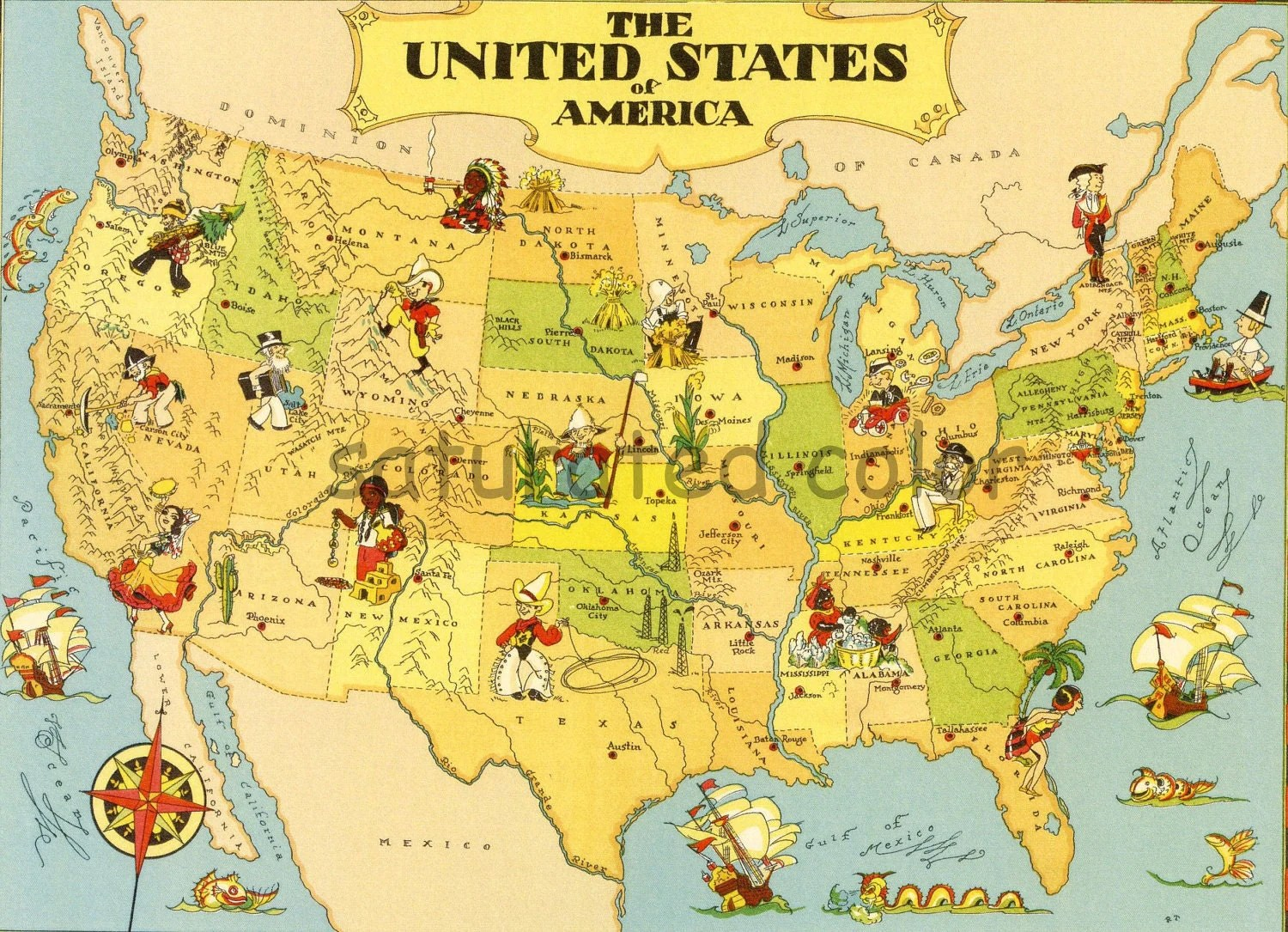 Vintage Usa Map United States Map Vintage A Fun Amp Colorful