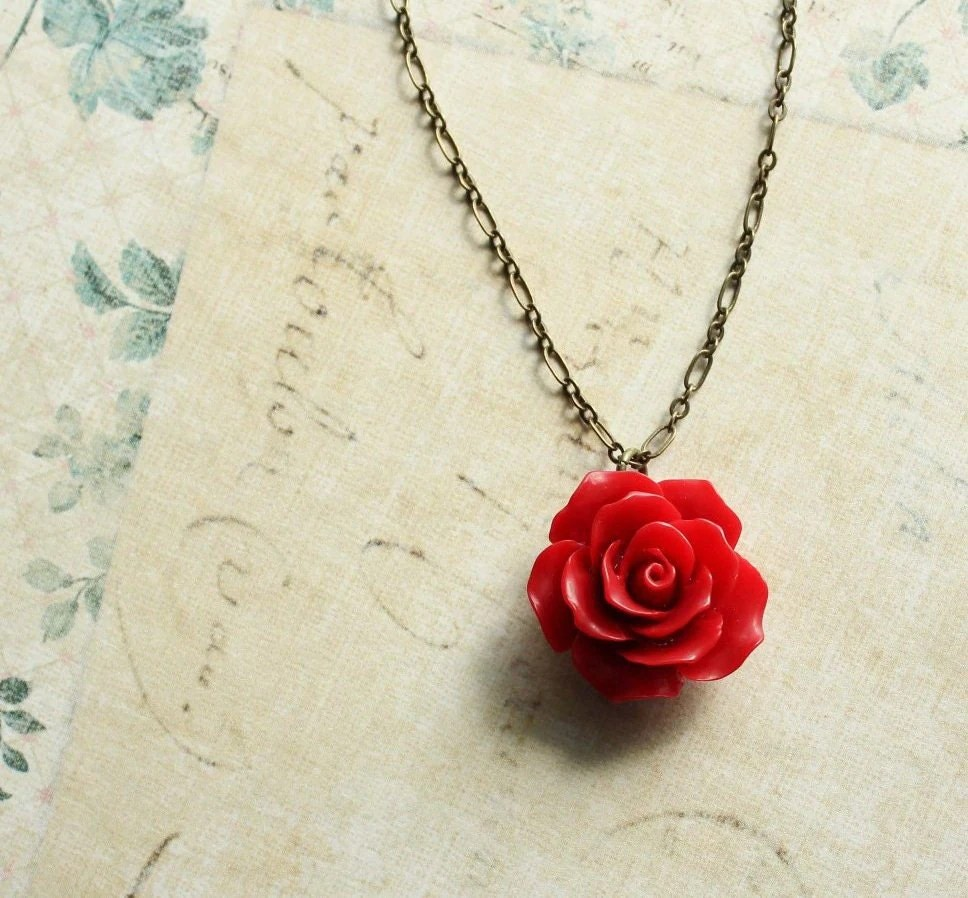 Red Rose Necklace Red Flower Pendant Resin Floral Jewellery