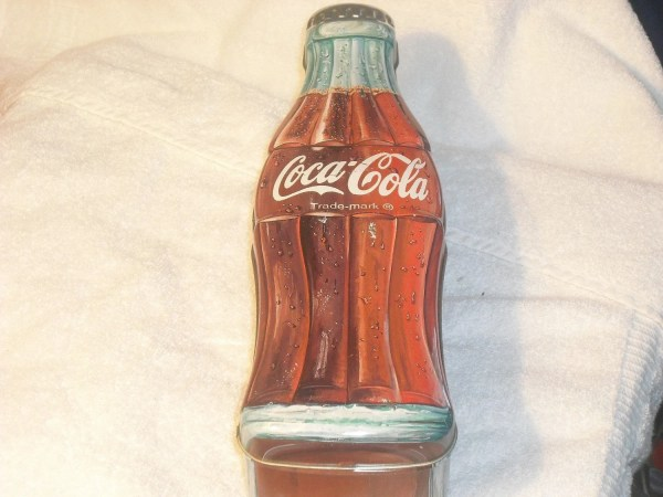 Vintage Large COCA COLA Tin Container Looks Like Coke Bottle