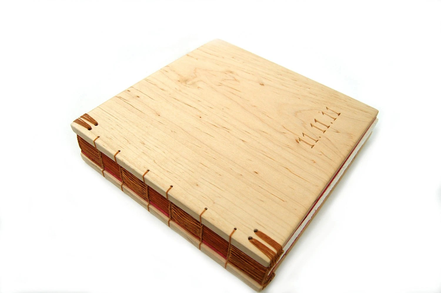 custom wedding guest book with carved wood covers - personalized rustic natural earth tone - ThreeTreesBindery