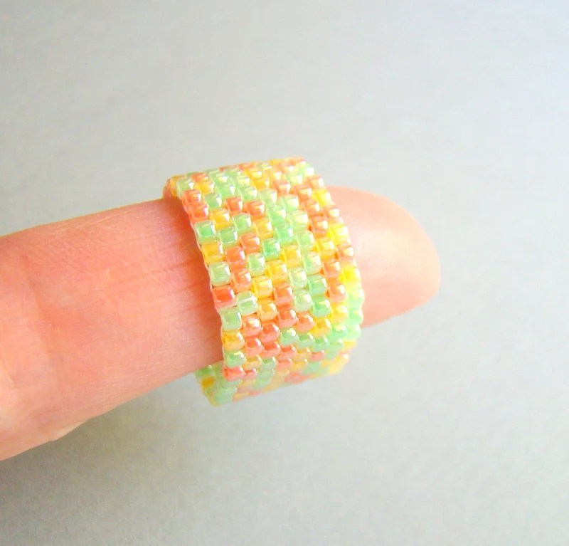 Rainbow sherbet beaded band ring - CUSTOM made to order in any size - ElephantBeads