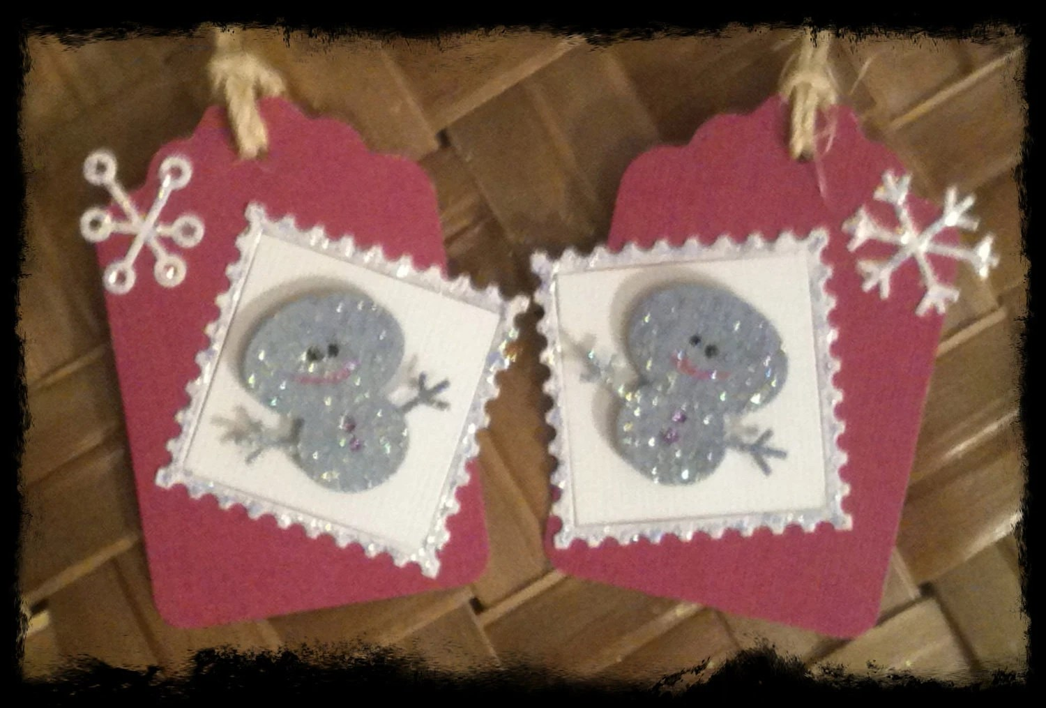 FOUR Snowman Snowflake Plum Sky Blue Snow White Glittery Postage Stamp Handmade Holiday Gift Tags