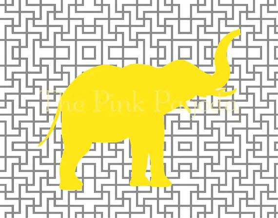 Yellow Elephant Silhouette on Gray Lattice Facing Right Giclee 11x14