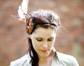 Autumn Flower Fascinator with Cream Peacock Feathers, Velvet Leaves, and Satin - PROTEA - LaCocoRouge