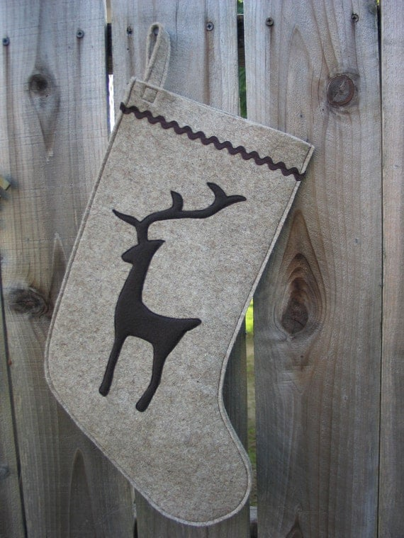 Christmas Stocking Woodland Reindeer Christmas stocking made of wool felt wool ecofelt