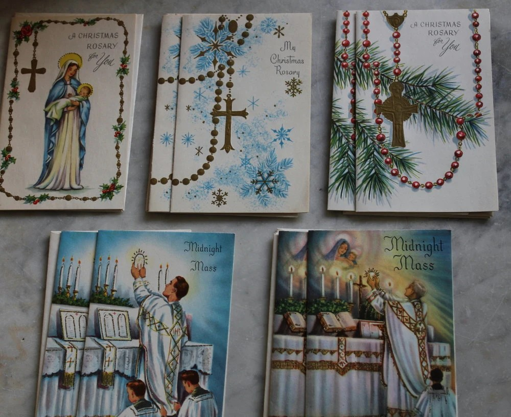 Vintage Catholic Assortment Christmas Cards And Box 1940s