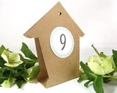 Birdhouse Table Number Tents - Two-Sided Rustic Country Kraft Paper Bird House Table Tents - Numbers 1 - 10 - WishDesignStudio
