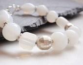 White Glass Silver Bracelet - ChristinesJewelry