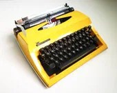 Vintage Contessa DeLuxe Yellow Typewriter Portable Manual Triumph Adler - EuroVintage