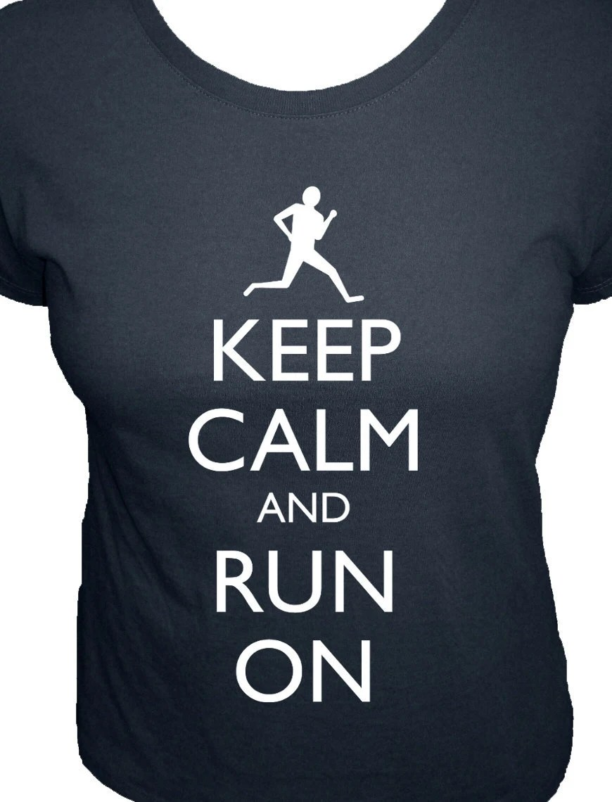 Running Shirt - Keep Calm and Run On Shirt - Organic - 4 Colors Available - Womens Organic Bamboo and Cotton Shirt - Gift Friendly - redbrickwall