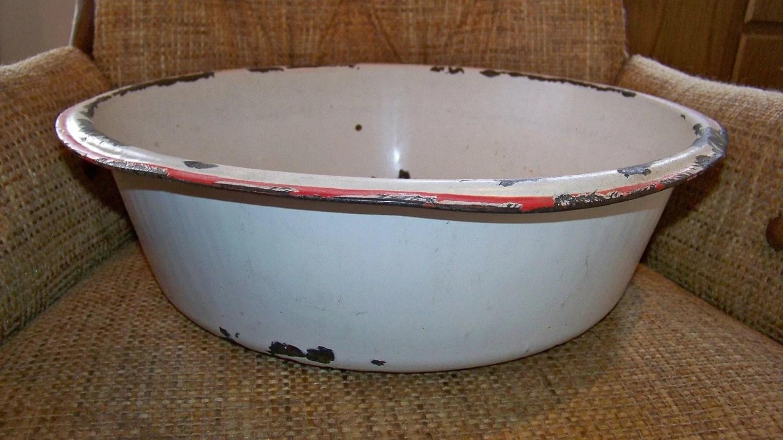 Vintage Large Enamelware Round Tub Washtub Basin Planter Bowl