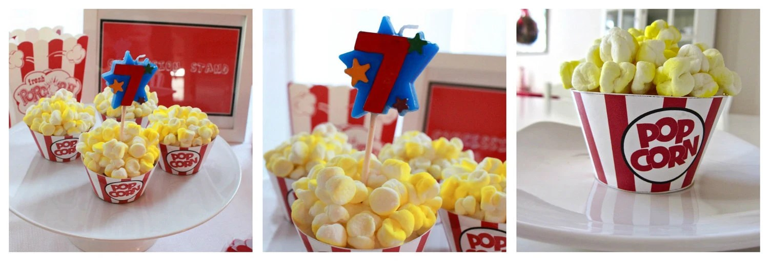 INSTANT DOWNLOAD Movie Popcorn Box Cupcake Wrappers Digital