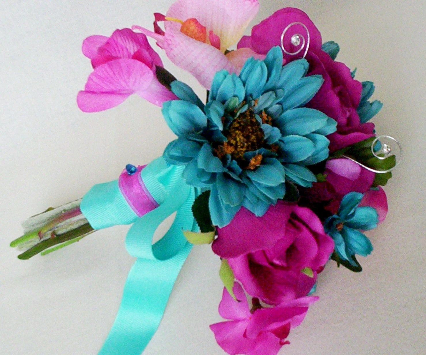 Turquoise Wedding Flowers Fuschia Silk Bridal Bouquet Package