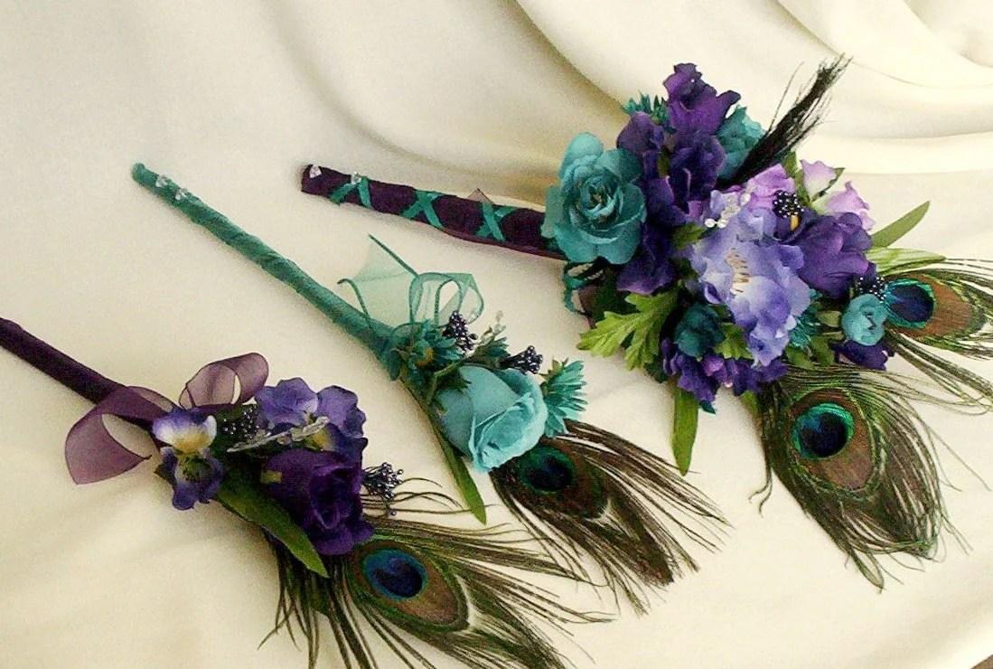 Peacock Bridal Bouquets 10 Piece Package Purple Teal Custom