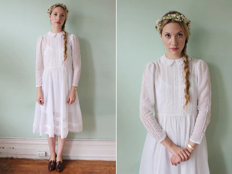 Vintage 70's White Lace Victorian Dress