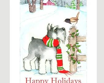 CANVAS PRINT Miniature Schnauzer Christmas Angel Holiday Print