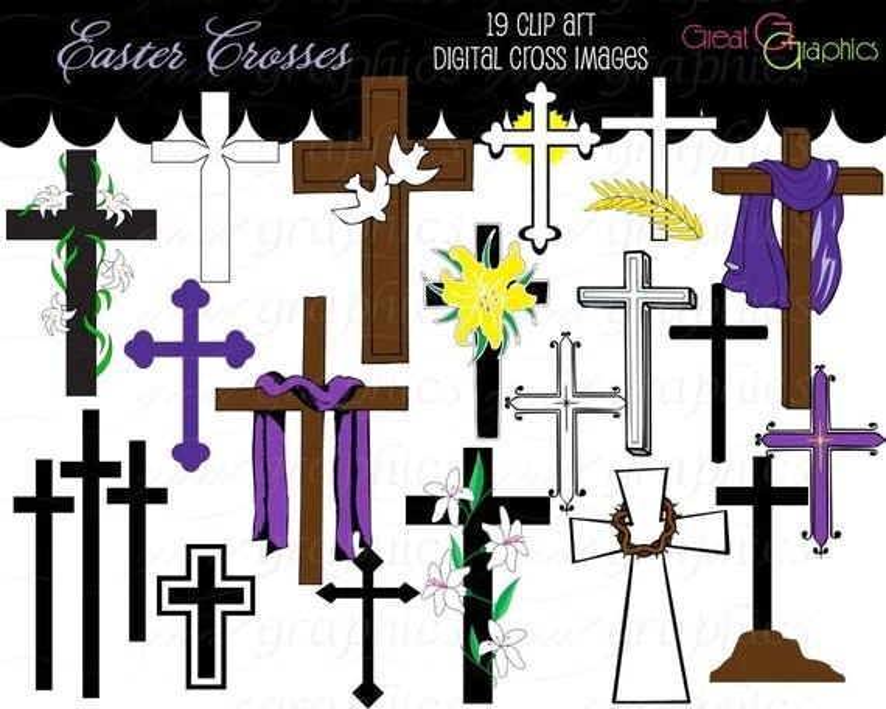 Cross Clip Art Cross Digital Clip Art Clipart Cross Easter