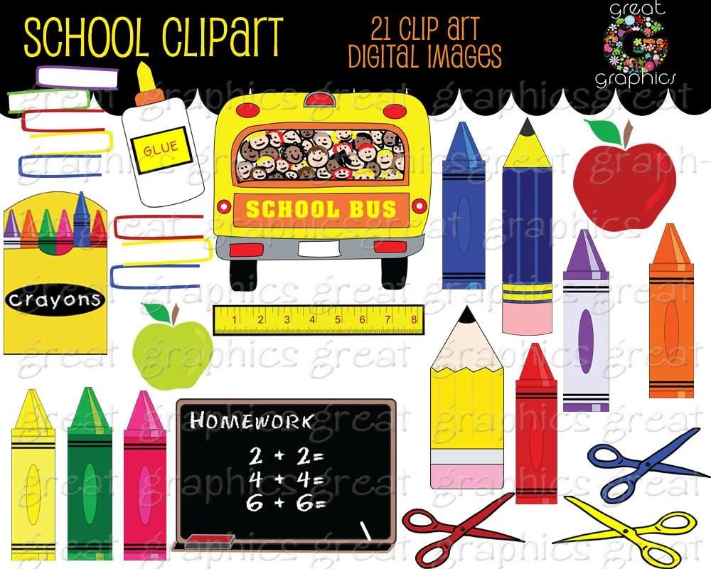 School Clipart Printable School Clip Art School Bus Crayon