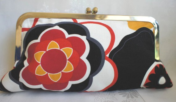 Mod Floral Cotton Fabric Clutch Purse with Polka Dot Lining-Seminoles Redskins Heat Trojans - GameDayColors