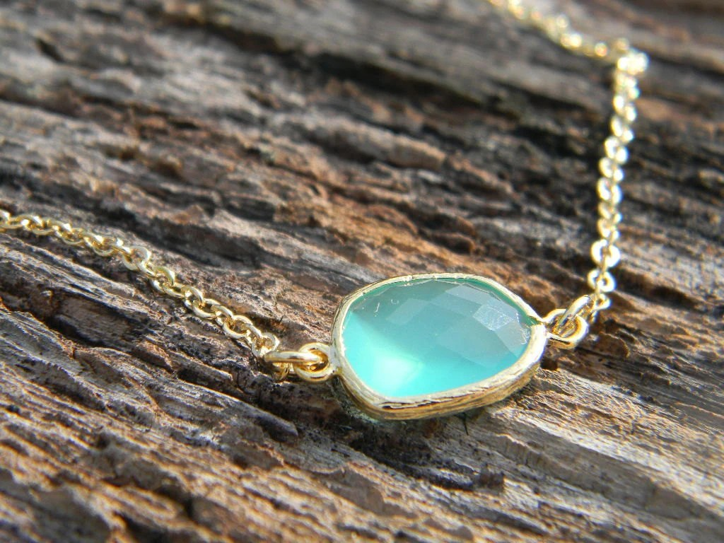 Pacific Opal Necklace in Gold Aqua Jewelry Bride Bridesmaid