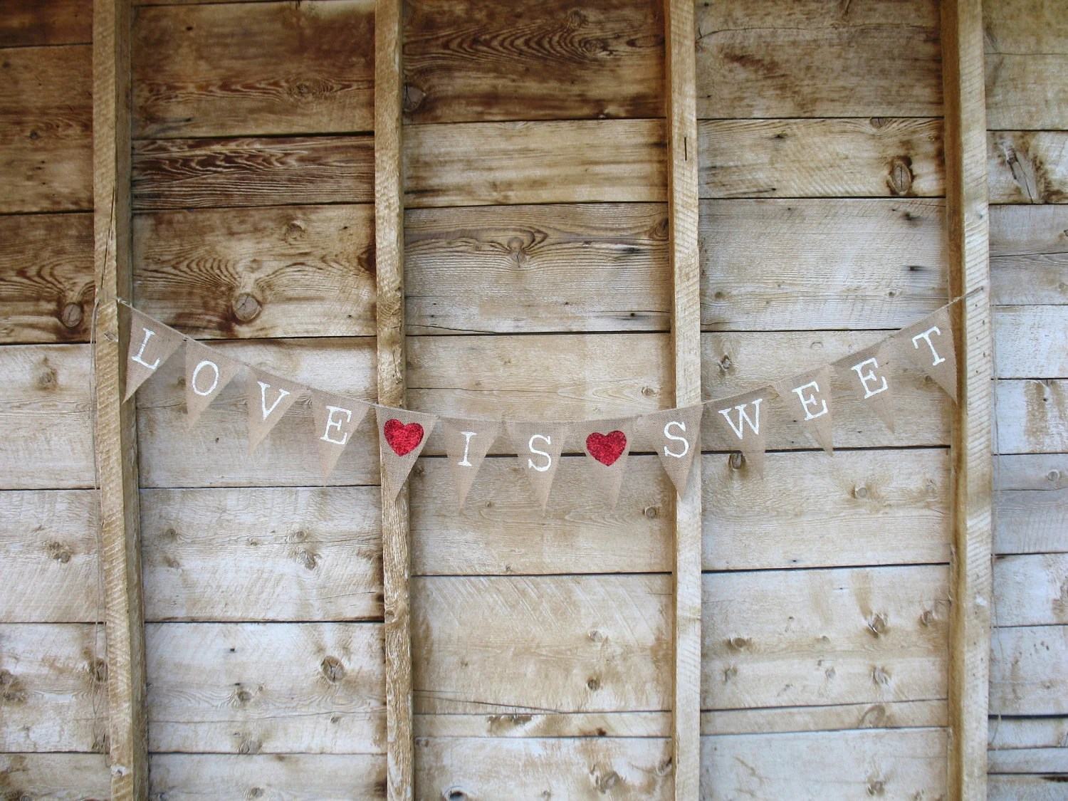 Love is sweet burlap Banner In Old Type font white Lettering, red glitter hearts - atcompanyb