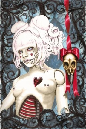 Sugar Skull Dolly, Reliquary 4x6 archival print - ShayneoftheDead