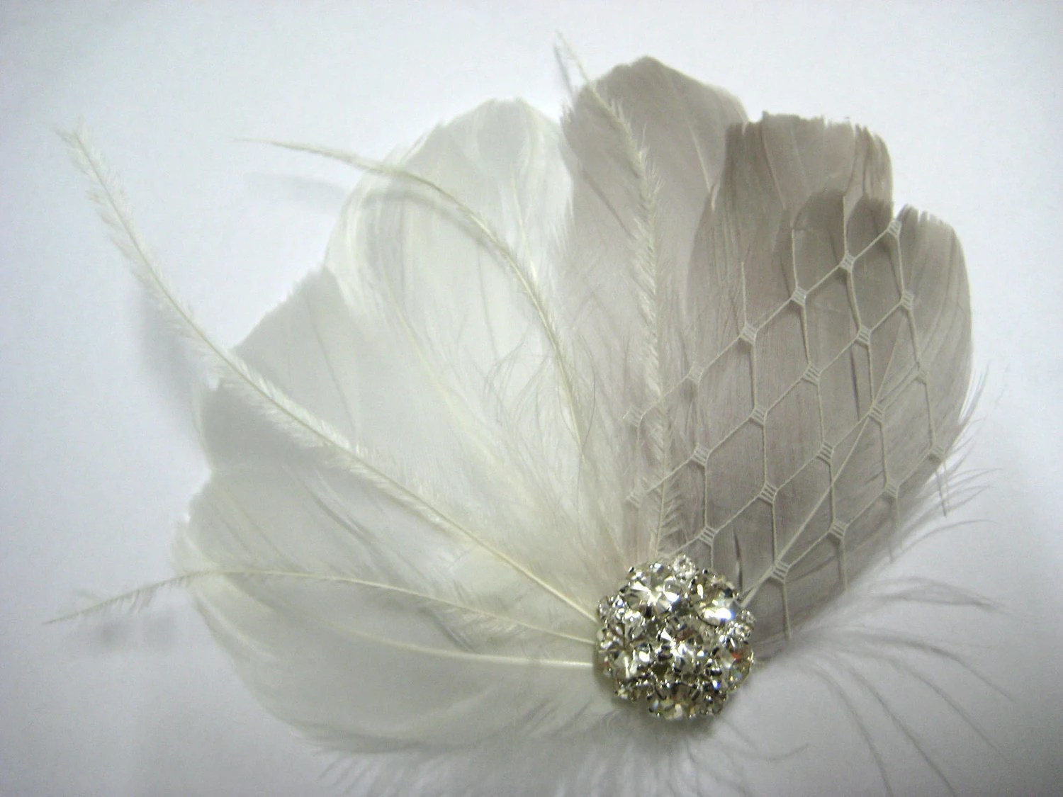 Wedding Bridal Off White Grey Feather Rhinestone Jewel Ivory Veiling Head Piece Hair Clip Fascinator Accessory - exquisitecreations2u