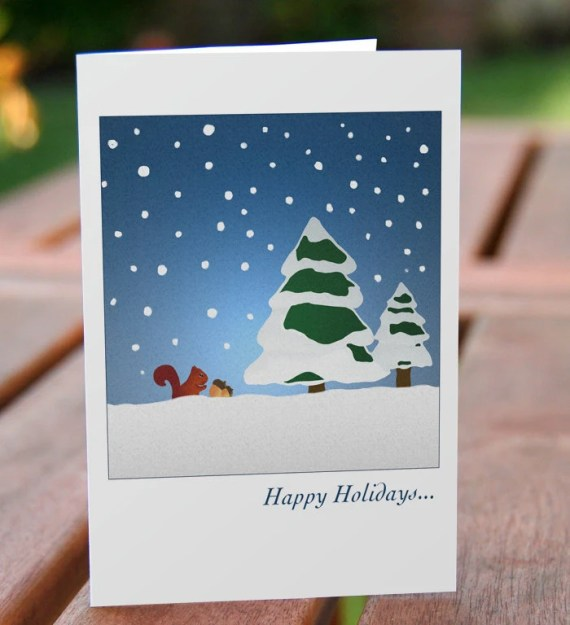 "Holiday card - squirrel collecting acorns in the snow (set of 20 - 3.5""x5"") - archsehgal"