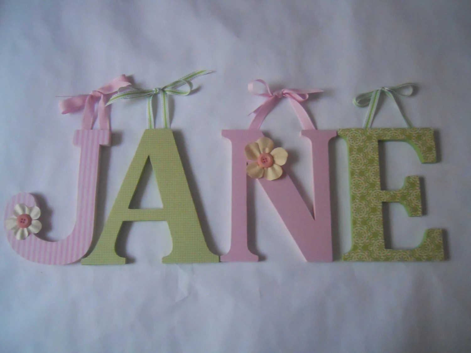 Wooden Letters For Nursery AS IS Spelling JANE In Pink And