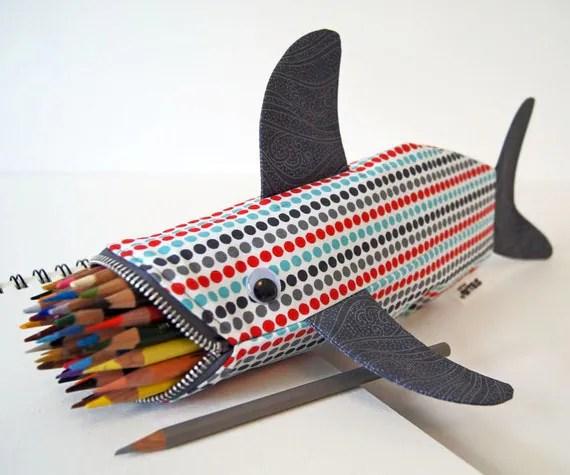 Shark Bag - Pencil Case - Cool Zipper Pouch - Gift Idea: Modern Dots Shark Bite