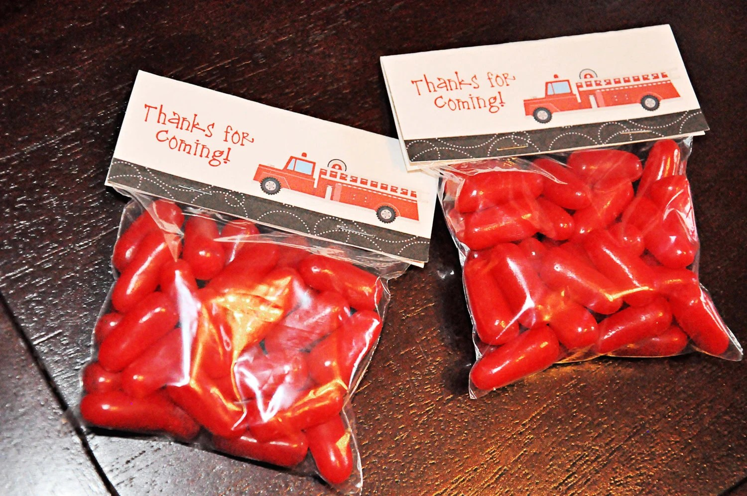 Instant Download Printable Candy Bag Labels Fire Truck