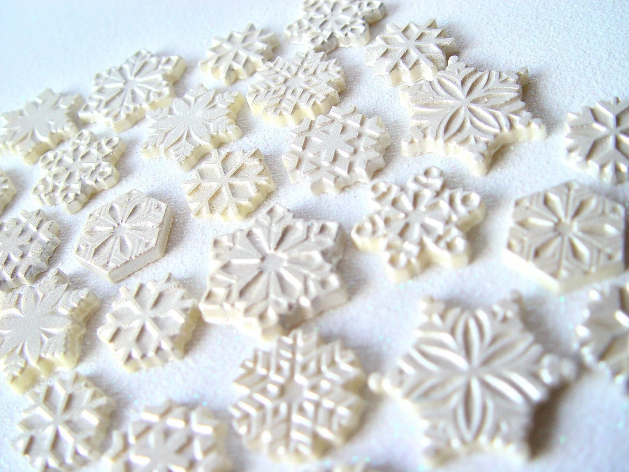 50 Snowflake Chocolates:  Silver Shadow Glimmer