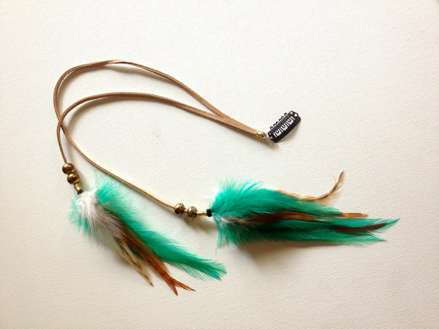 Tribal Bohemian Long Feather Clip With Beads, Leather, Ocean Turquoise, Ginger Hair Accessories - PrettyVagrant