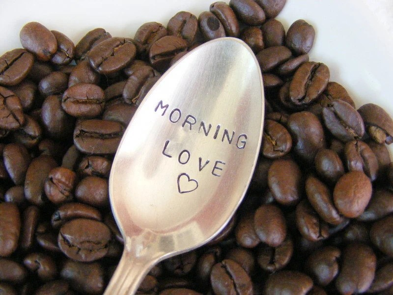Hand Stamped Coffee Spoon Morning Love - BabyPuppyDesigns