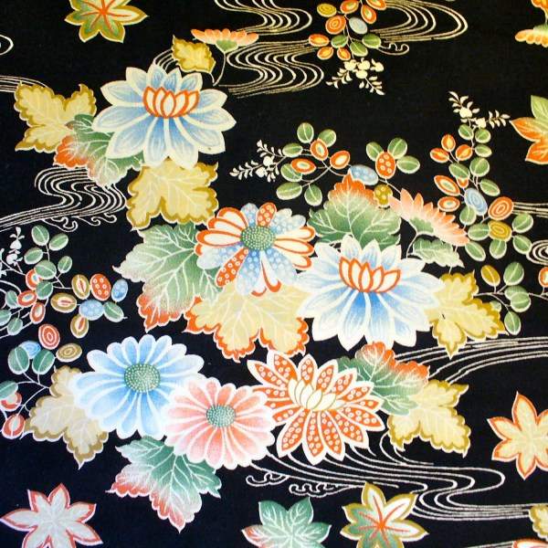 Oriental Floral Print Quilting Fabric Black Pastel Water Lily