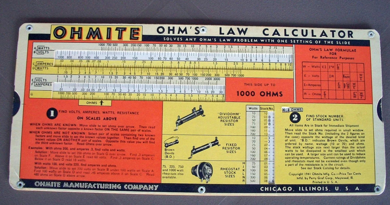 Ohmite Ohm S Law Calculator From