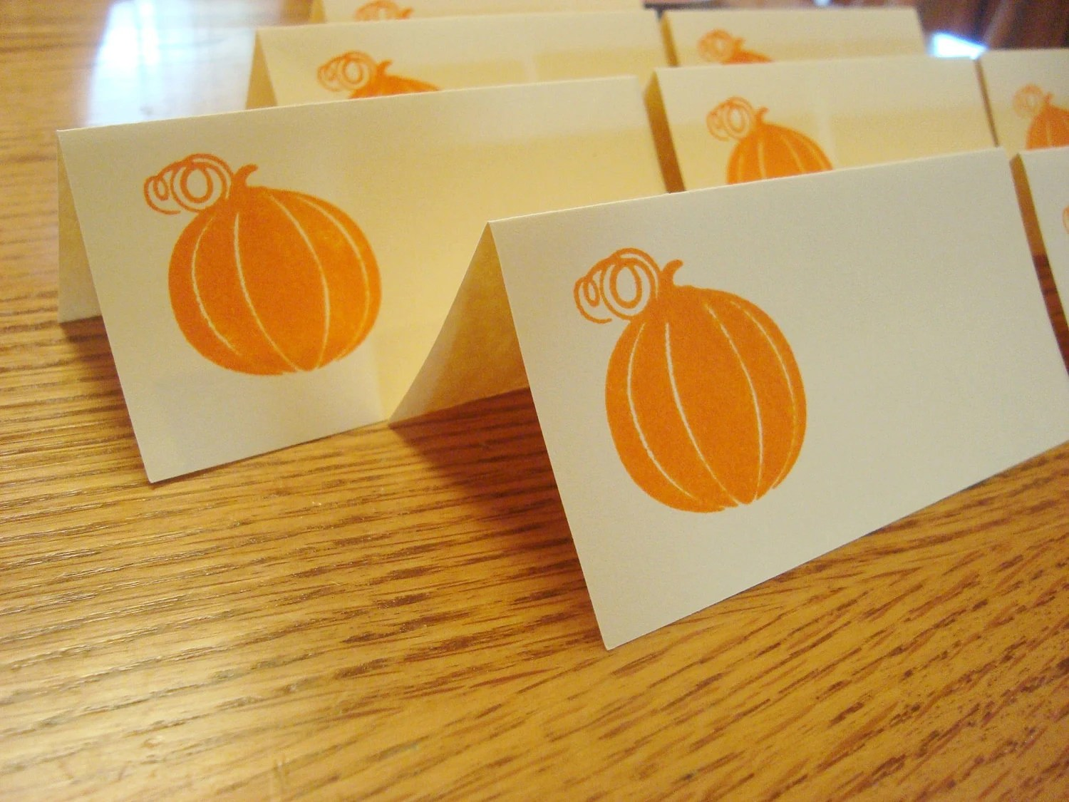 Place Cards - 16 Stamped Pumpkins - Perfect for your Halloween, Fall or Thanksgiving Dinner Party - oneofakindbabydesign