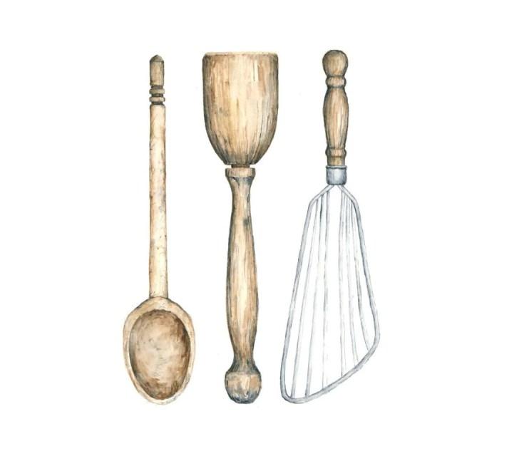 Antique Kitchen Utensils Watercolor Giclee Eastashleystudio